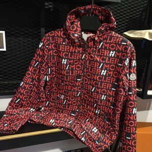 MONCLER MALE RED NAVY BLUE RAINCOAT
